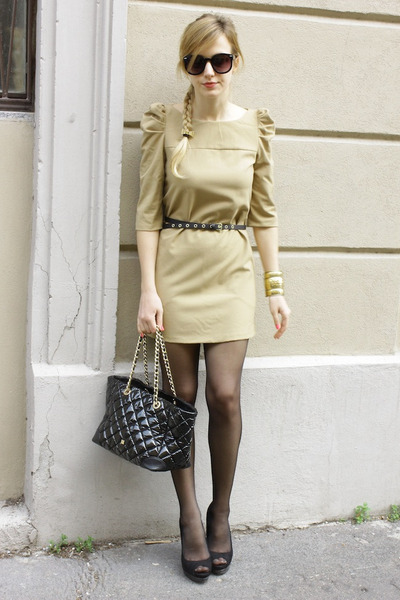 light brown BLANCO dress - black Purificacion Garcia bag - black Primark heels