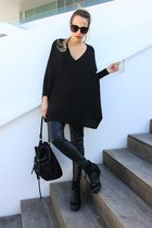 black Mango sweater - black Zara bag - black Zara pants