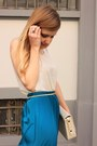 Teal-primark-skirt-ivory-zara-bag-black-zara-sandals-bronze-primark-belt