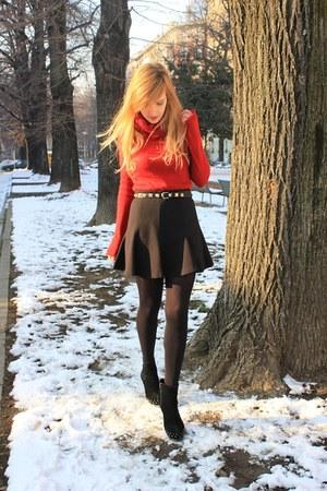 black Mango boots - red Zara sweater - black Zara belt - black Zara skirt
