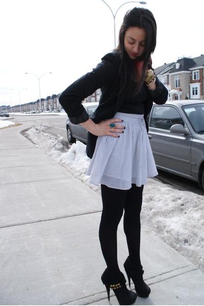 H&M skirt - Guess blazer - Joe Fresh tights - Zara top - Rachel Zoe heels