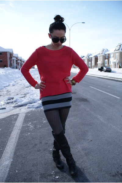 H&M sweater - Aldo boots - H&M dress - carrera sunglasses - BCBG ring