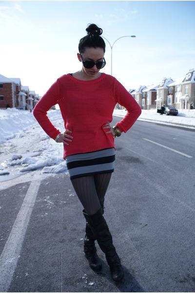 H&M sweater - Aldo boots - H&M dress - carrera sunglasses - BCBG ring