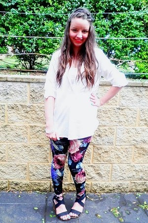 supre shirt - Target top - Sportsgirl leggings - Rubi shoes wedges - Market neck