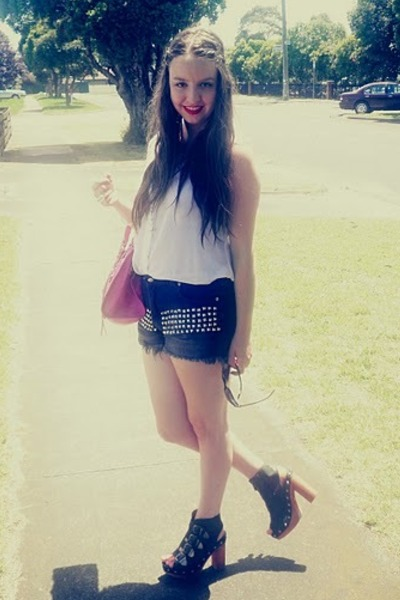 sheer supre shirt - Ebay bag - studded supre shorts - Sportsgirl heels - Target