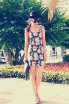 hot pink metersbonwe dress - black H&M hat - tan H&M wedges