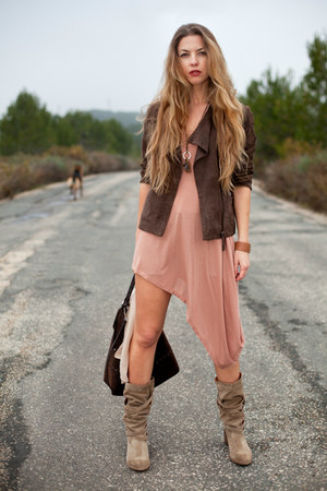 brown Antik Batik jacket - tan Catarina Martins boots - salmon Monki dress