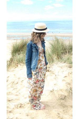 beige Primark hat - blue vintage jacket - beige Topshop love dress