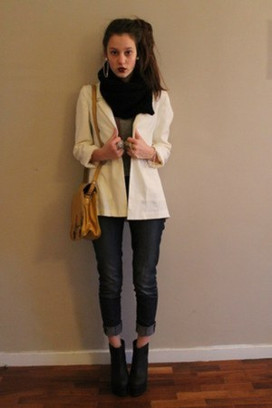 dark gray Zara jeans - beige H&amp;M blazer - black H&amp;M scarf - mustard Zara bag