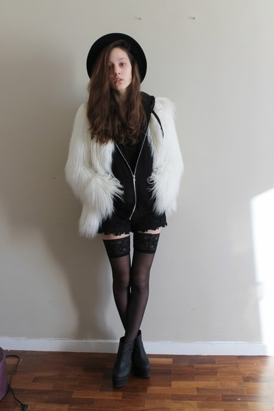 white faux fur Zara coat