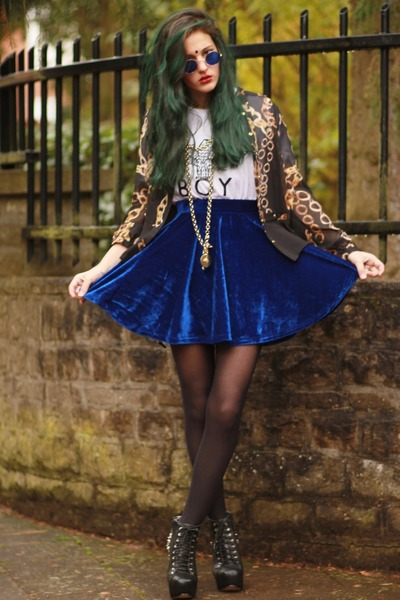 navy velvet chicnovacom skirt - spike lita JC shoes - chain print Primark shirt