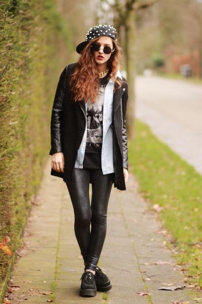 Choies hat - snakeskin print Lashes of London leggings - DAISY POTION sunglasses