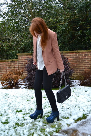peach power shoulder Forever 21 blazer - navy lita Jeffrey Campbell boots
