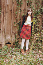 plaid wool vintage skirt - vintage suede bare traps boots - opaque Target tights