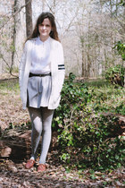 white varsity Tommy Hilfiger cardigan - heather gray polka dot tights