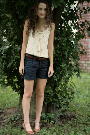 confetti kate spade blouse - hair clip J Crew hat - Forever 21 shorts