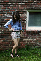 black Forever 21 shorts - sky blue oxford thrifted shirt