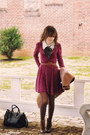 Dark-brown-heeled-call-it-spring-boots-maroon-lace-free-people-dress
