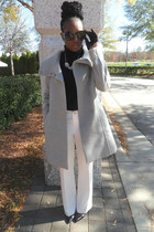 black Gap sweater - heather gray H&M coat - white Forever 21 pants