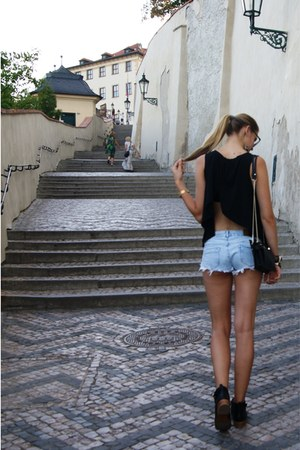 black studded boots - black bag - sky blue shorts - black t-shirt