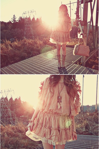 light pink H&M necklace - eggshell Durango boots - peach romwe dress