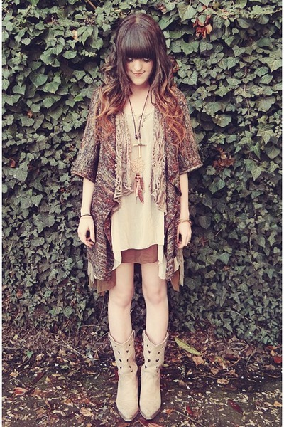 tan Club Couture dress - beige Durango boots - brown Macys sweater