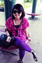 from Bugis Street blouse - Zara leggings - Little Match Girl purse - ray-ban sun