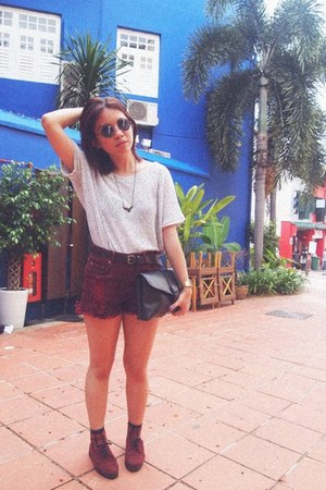 maroon ripped denim Forever 21 shorts - maroon brogue-creeper Topshop shoes