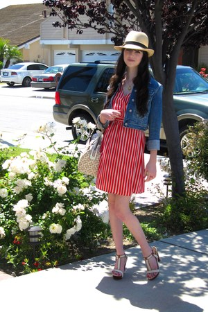 red wrap Forever 21 dress - beige vintage hat - navy jean vintage jacket - cream