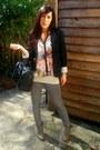 Heather-gray-pull-bear-jeans-black-bershka-blazer-pull-bear-shirt