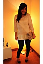 light pink H&M sweater - light pink bag - teal new look heels