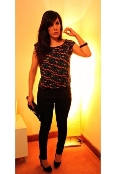 black pull&bear jeans - black Mango bag - black Primark heels