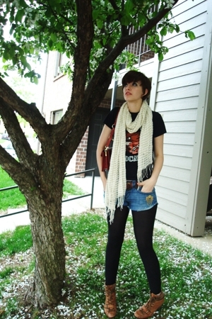 DIY shorts - my high school t-shirt - Old Navy scarf - Nine West boots - accesso