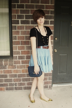H&M skirt - Express t-shirt - loeffler randall for target shoes - thrifted purse