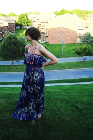 blue maxi Express dress - orange thrifted necklace