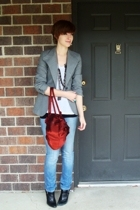 thrifted blazer - Express t-shirt - Express necklace - thrifted purse - Express