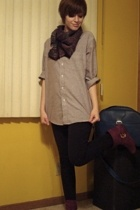 shirt - scarf - Express leggings - Bamboo boots - Samsonite purse