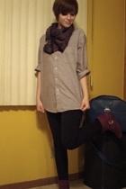 shirt - scarf - Express leggings - Bamboo boots - Samsonite purse