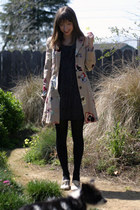 beige sale Anthropologie coat - black thrifted dress - tan Rachel Comey heels