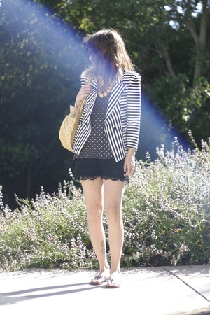 black OASAP shorts - white Forever 21 jacket - light yellow Ebay bag