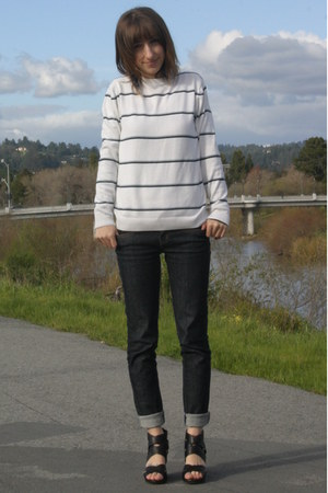 navy Wet Seal jeans - white second hand sweater - black Target wedges