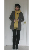 black Ross boots - black Wet Seal jeans - brown Forever 21 coat - yellow thrifte