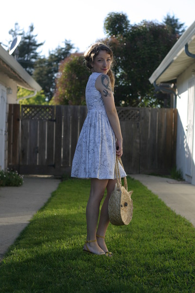 white Self Sewn dress - light orange milanoo bag - yellow Lulu Guinness wedges