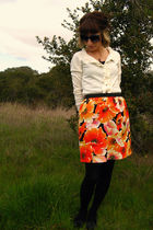 orange self-made skirt - black Vans shoes - white New York & Co cardigan