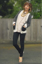 black Urban Outfitters cardigan - beige Self-Sewn top - black Wet Seal jeans - b