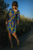 blue vintage dress - yellow Target shoes