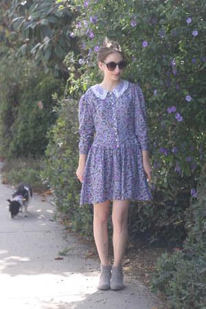 violet vintage dress - heather gray Target boots