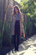 beige sale Anthropologie coat - black Wet Seal boots - black Forever 21 tights