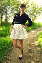 black New York & Co blouse - white self-made skirt - black payless shoes