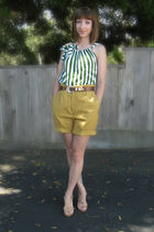 yellow thrifted shorts - green self made dress top - brown thrifted belt - beige